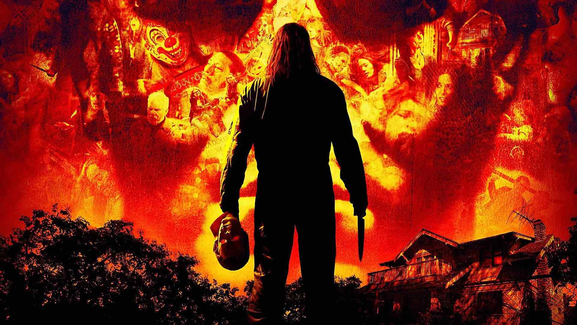 michael myers in the poster for the 2007 rob zombie halloween movie.