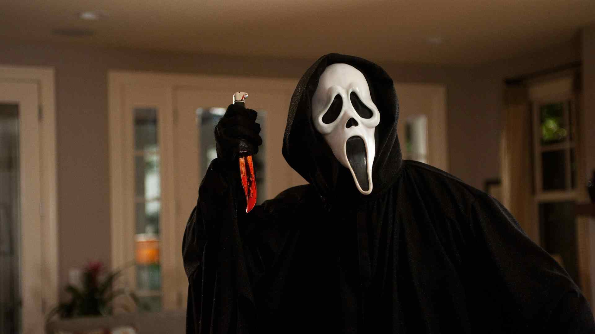 The ghostface killer in the popular scream movie franchise.