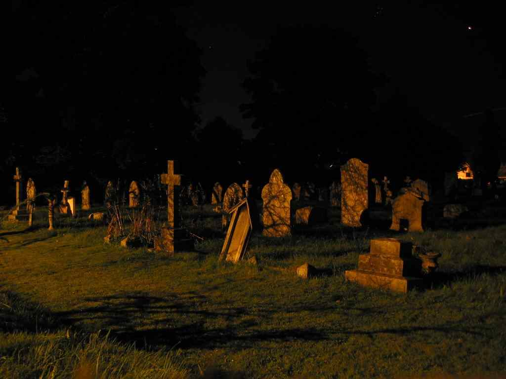 a graveyard in the dead of night is a scary place to be.