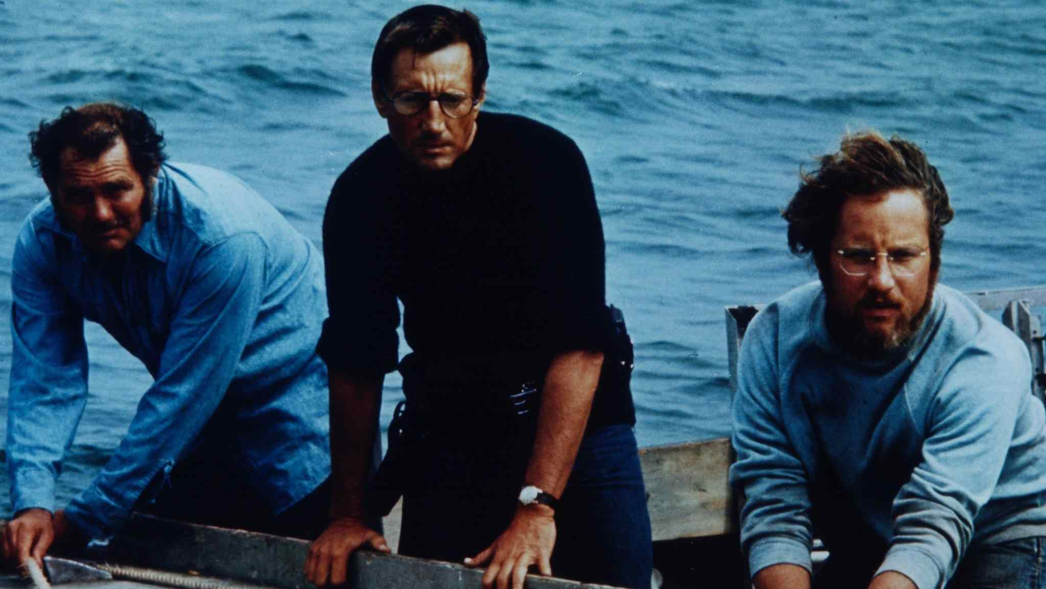 Brody (Roy Scheider) and Hooper (Richard Dreyfuss) in Steven Spielberg's Jaws.