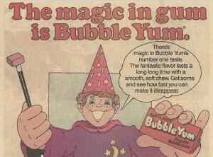 Vintage Bubble Yum advertisement - 100% Spider Free