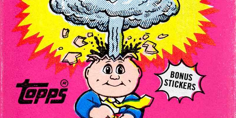 Vintage design from Garbage Pail Kids trading cards package.