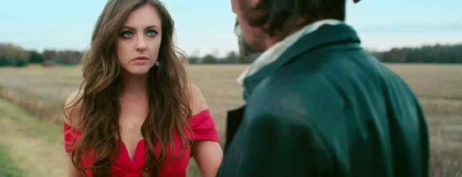 """Katharine Isabelle looking beautiful in red in 2015's """"88""""."""