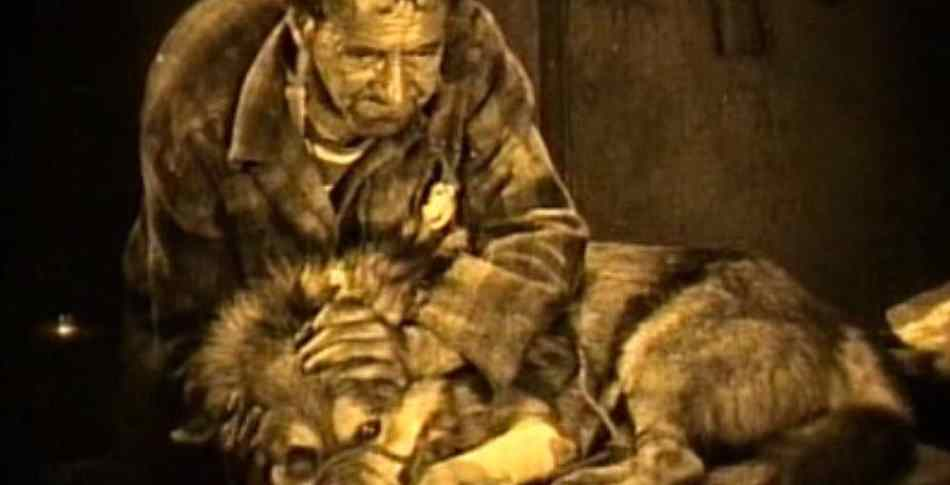 Man and wolf as seen in the vintage werewolf film Wolfblood