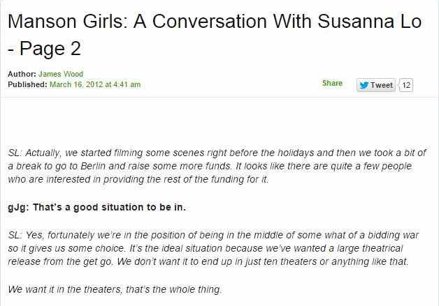 Screenshot of the deleted (but still archived) interview with James Wood about Susanna Lo's film Manson Girls.