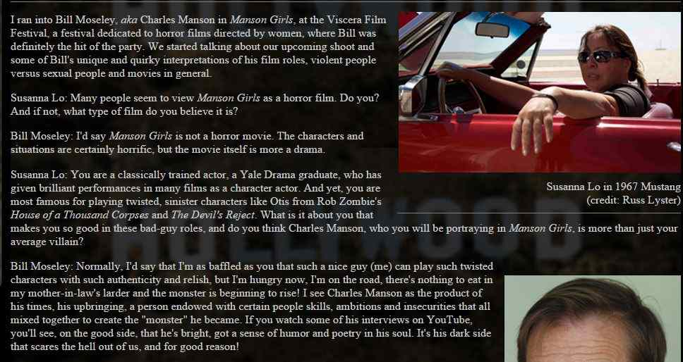 Screenshot of the Stay Thirst interview between Bill Moseley and Susanna Lo about the film Manson Girls.