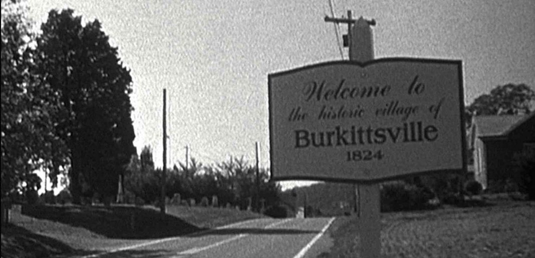 Horror movies to watch on Halloween. Blair Witch Project Burkitsville sign.