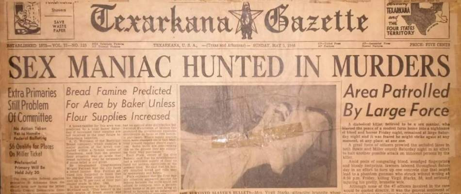 Headlines from the Texarkana Gazette, as seen in the 2014 documentary Killer legends.
