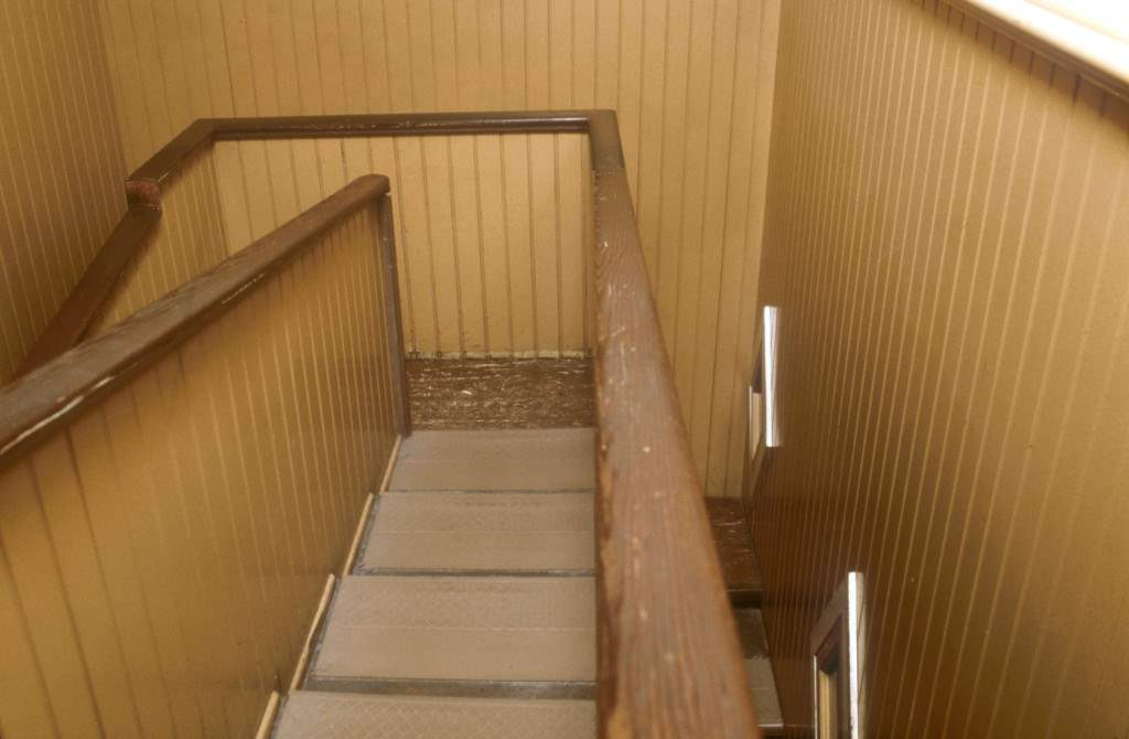 stairs leading nowhere in the winchester mystery house.