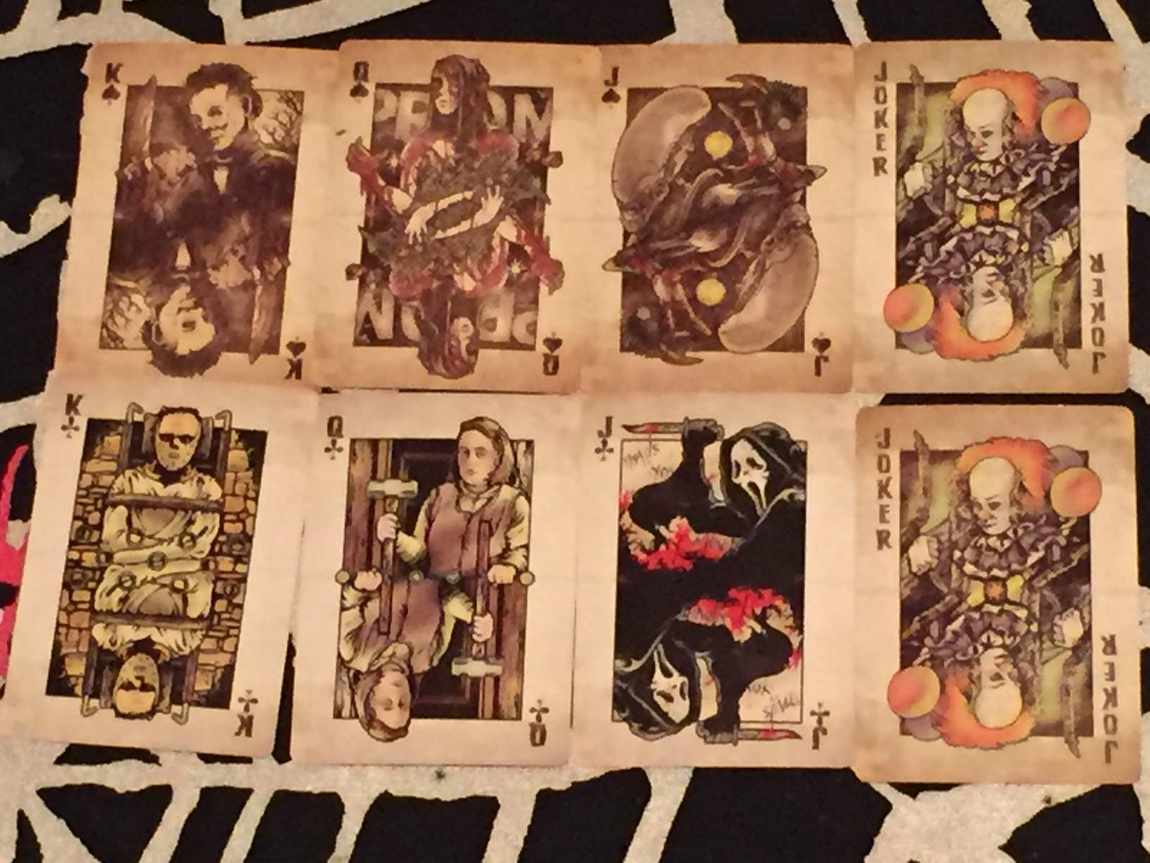 Two sets of face cards and the jokers in the deck of playing cards included in February 2016's Horror Block