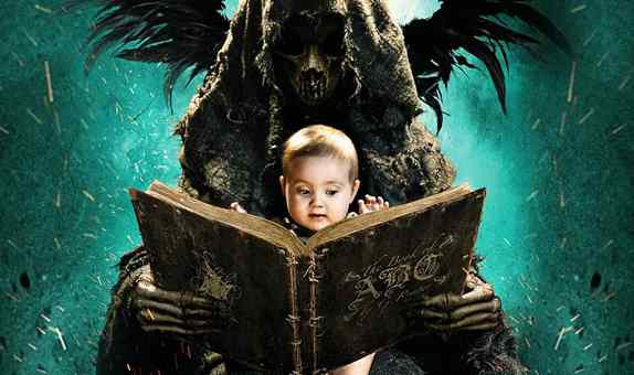 Teacher on trial facing prison for showing students the abcs of death. The abcs of death dvd cover and movie poster image with a grim reaper type reading a baby his abcs.
