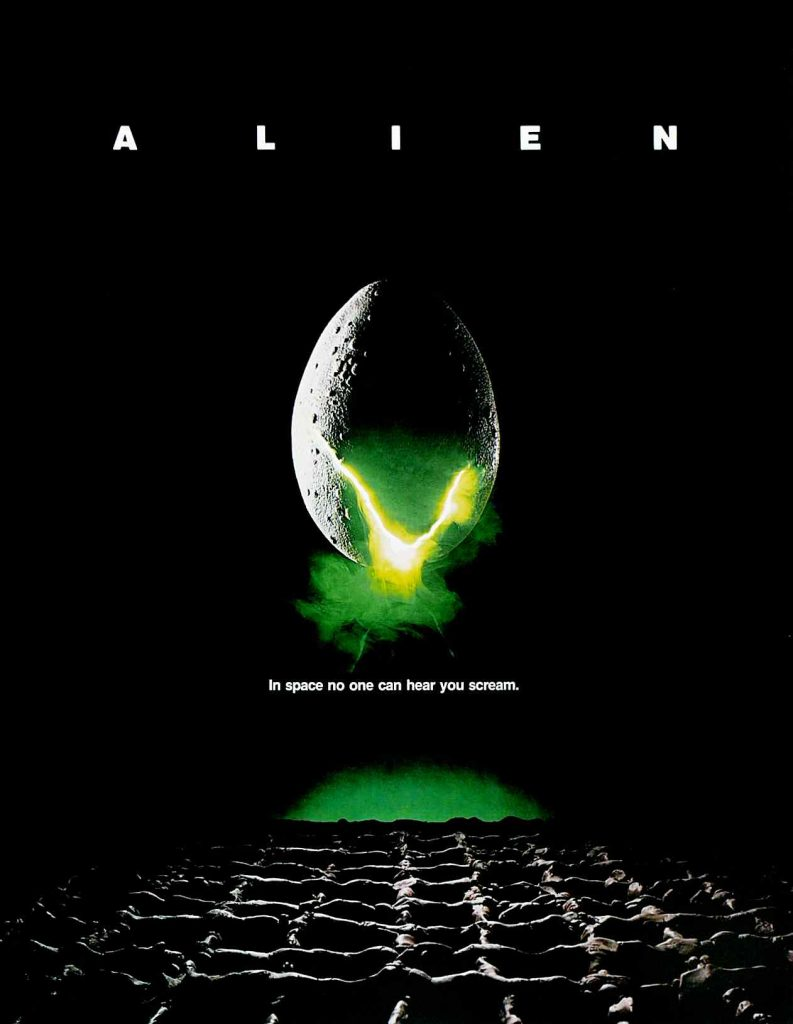 the movie poster for ridley scotts world wide and successful alien sci-fi horror.