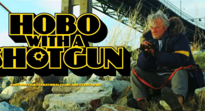 Hobo with a shotgun title screen with Rutger Hauer - directed by Jason Eisner.