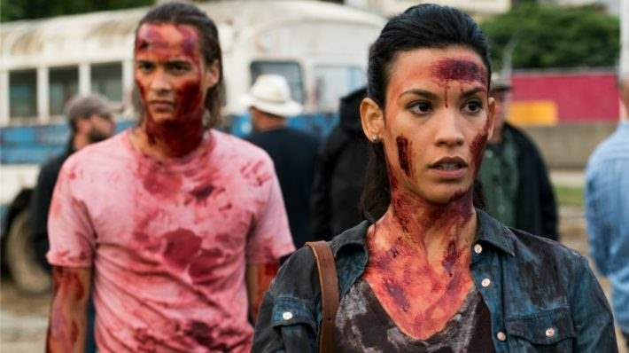 Danay Garcia as Luciana with Nick from 'Fear the Walking Dead.'