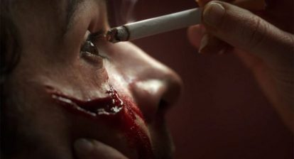 Piercing Movie Cigarette to the eye still